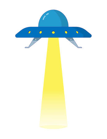 UFO flying saucer with glass dome and spotlight beam. Colored isolated illustration in cartoon style on white.