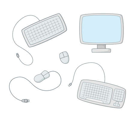 A set of computer equipment. Monitor, keyboard and mouse.Colored isolated illustrations in cartoon style with an outline on a white background.