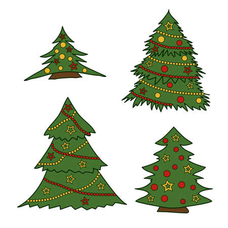 Set of four green Christmas trees decorated with garlands, balls and stars.Colored isolated illustrations in doodle style with an outline on a white background. Illustration