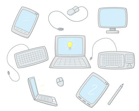 A set of computer equipment. Monitor, keyboard and mouse. Computer tablets and laptops.Colored isolated illustrations in cartoon style with an outline on a white background.