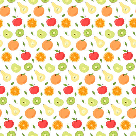 Seamless repeating pattern of fruits, whole and cut. Pears, apples, peaches and oranges, kiwi. Isolated colored cartoon objects on a white background. Illustration