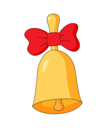Gold bell with a red bow. The symbol of the day of knowledge on September 1. Colored isolated illustrations in cartoon style on a white background.