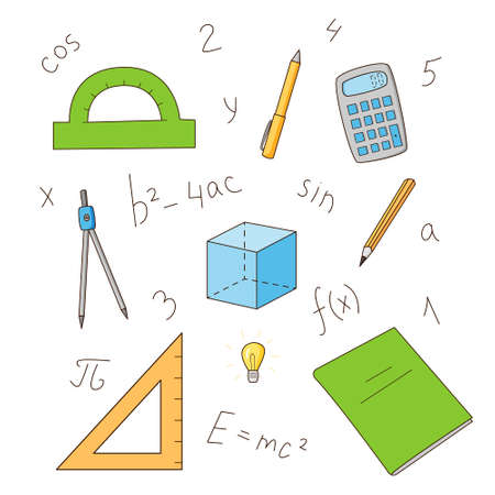 A set of elements of mathematics and physics. Formulas and objects. Colored isolated illustrations in cartoon style on a white background.