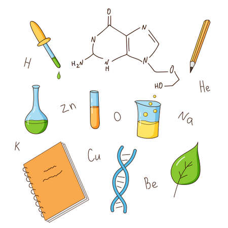 Chemistry and biology elements set. Inscriptions, equipment, DNA. Colored isolated illustrations in cartoon style on a white background.