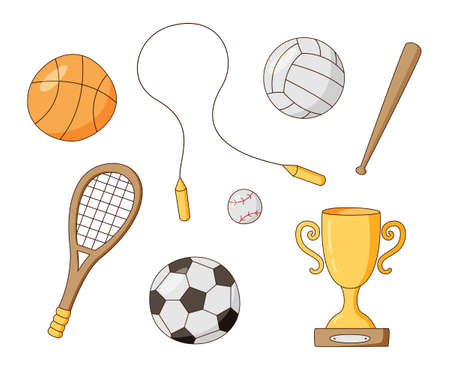 Set of sports equipment. School lessons. Balls, racket, award, etc. Colored isolated illustrations in cartoon style on a white background.