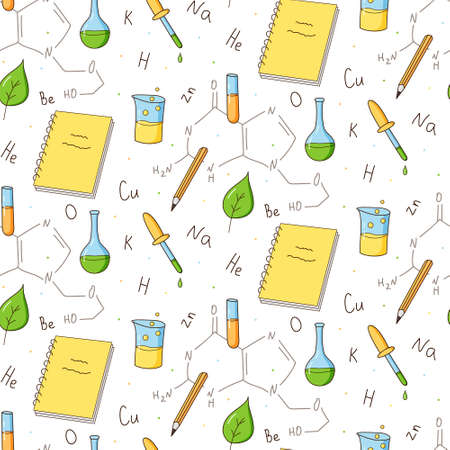 Seamless repeating pattern of chemistry and biology elements. Inscriptions, technology, DNA. Colored isolated illustrations in cartoon style.