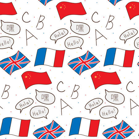 Seamless repeating pattern of flags of the world in popular languages. Hi. English, Spanish, Chinese. Colored isolated illustrations in cartoon style on a white background.
