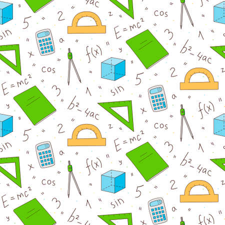 Seamless repeating pattern of mathematics and physics elements. Formulas and objects. Colored isolated illustrations in cartoon style on a white background.