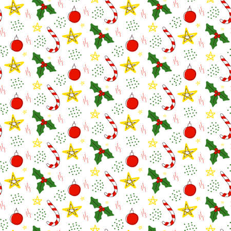 Christmas holly with berries, candy cane, christmas ball, stars and confetti.Seamless repeating pattern in doodle style on a white background. Illustration