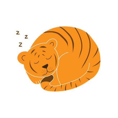 An orange tiger, striped, lies in a circle with closed eyes.Colored doodle style illustration isolated on white background.