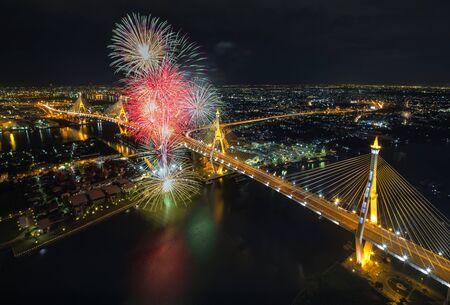 Bhumibol bridge Bangkok, Thailand photo