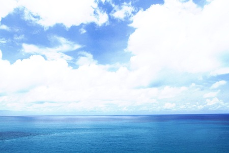 horizon over water: Summer landscape and blue sky with sea and horizon over water Stock Photo
