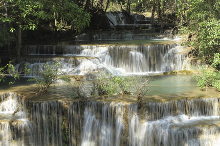 khamin: Huay Mae Khamin Waterfall First Level and paradise Waterfall located in deep forest of Thailand