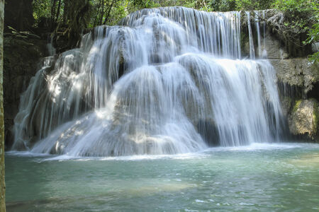miracle leaf: Huay Mae Khamin Waterfall First Level and paradise Waterfall located in deep forest of Thailand