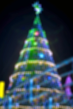 shinny: blur Shinny Christmas Tree and Happy new year bokeh, abstract background