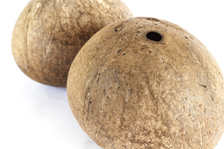 copra: Coconut shell on a white background