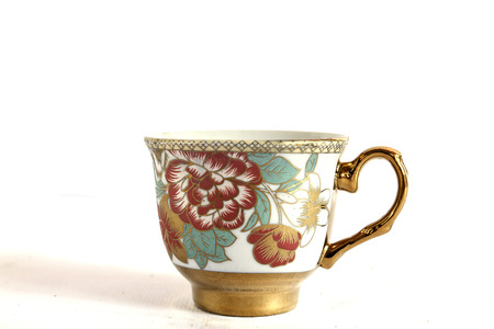 teacup: Elegant Antique china tea cup and saucer on white background