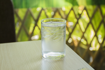 thirstiness: glass of water on wood table