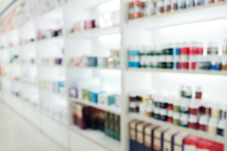antique background: blurry medicine cabinet and store medicine and pharmacy drugstore for background