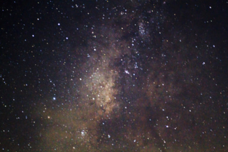 Long exposure photograph with gain of the Milky Way galaxy on dark night