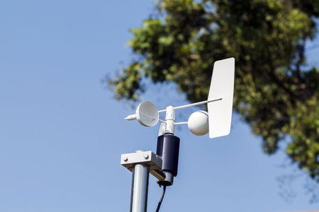 meteorological: Anemometer and Devices meteorological station on the blue sky background Stock Photo