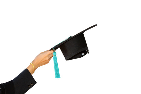 airs: congratulations throwing graduation Students with hats isolated on white background