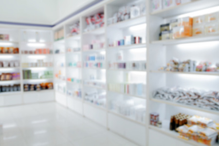 empty room background: blurry medicine cabinet and store medicine and pharmacy drugstore for background