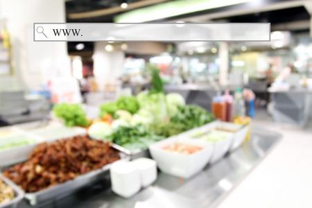 negocios comida: patio de comidas borrosa en el supermercado  centro comercial para el fondo con la barra de direcciones, el fondo de compras en línea, negocio, comercio electrónico