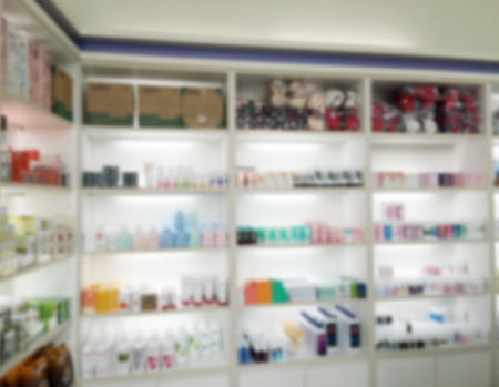 Blurry Medicine Cabinet And Store Medicine And Pharmacy Drugstore For  Background Photo