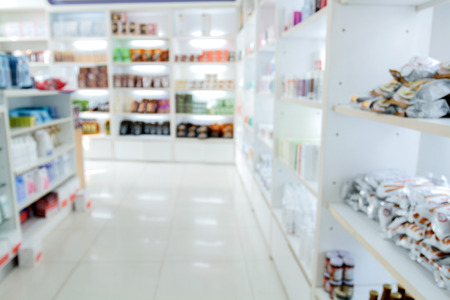 medicine cabinet: blurry medicine cabinet and store medicine and pharmacy drugstore for background