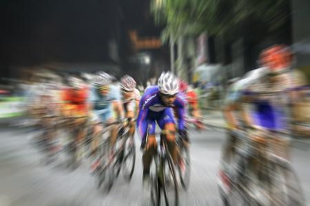 Campeonato borrosa asiática Ciclismo durante la carrera para el fondo Foto de archivo - 63995569
