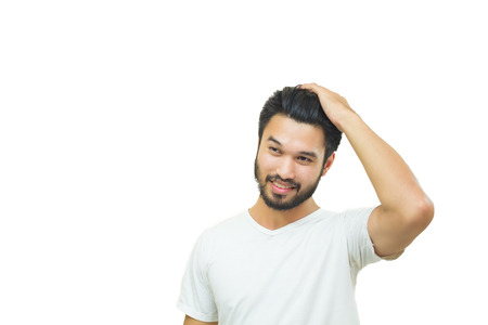 asian style: Asian handsome man with a mustache, smiling and laughing and Set hair ,soft focus