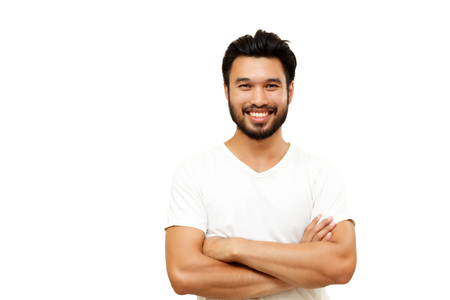 Asian handsome man with a mustache, smiling and laughing isolated on white background ,soft focus