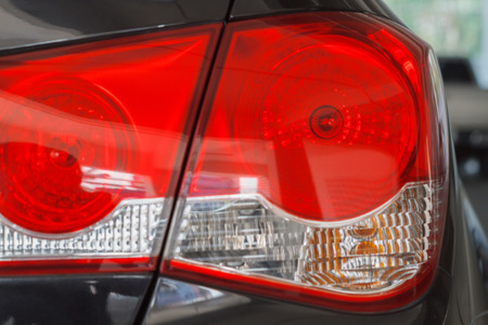 close up the taillight and Car lights