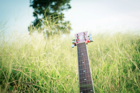 blurry and soft focus of guitar on grass at sunset ,vintage tone
