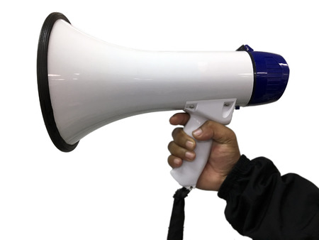 businessmans hand holding megaphone