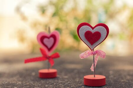 textured wall: Heart standing on concrete floor for valentine day ,love and romantic concept Stock Photo