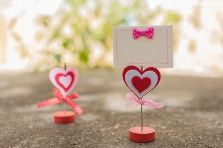 blank card and heart for valentine day concept ,soft focus and blurry Stock Photo