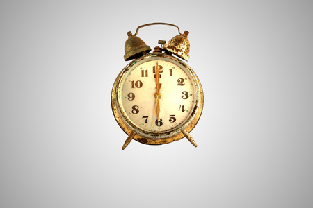 Vintage alarm-clock and old and rust gold alarm and Retro alarm  isolated on white background