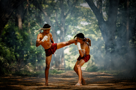 Muay thai or Thai boxing at Thailand