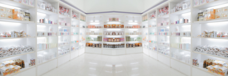panorama on medicine cabinet and store medicine and pharmacy drugstore for Blurry background