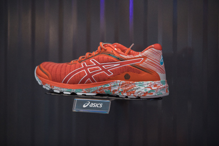 Nakhonratchasrima,Thailand, August 06, 2017: Asics shoes sports running at Asics stores are located all over the world Editorial