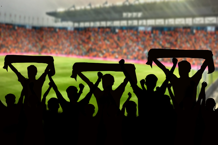 silhouettes of Soccer fans in a match and Spectators at football stadium