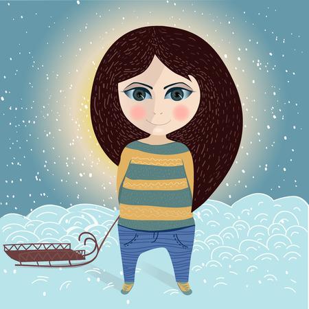 winter girl: Winter girl Illustration
