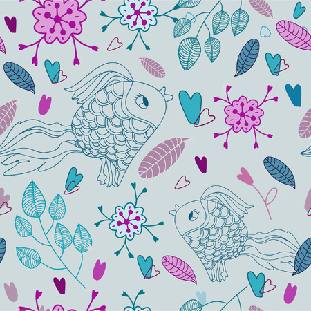Seamless pattern with fishes and hearts Vector