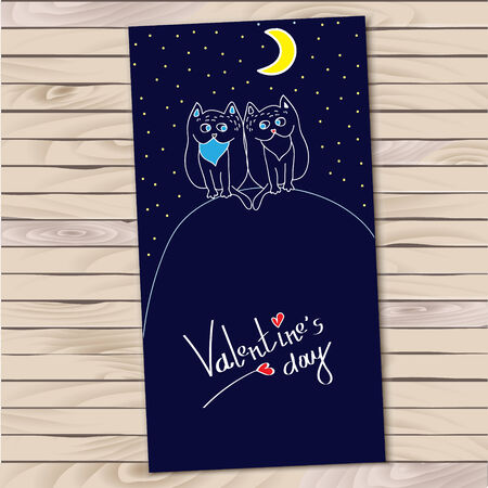 Hand drown valentines day card with cartoon cats ans heards