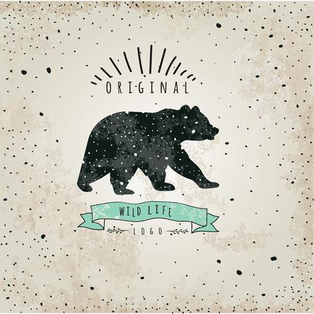 bear silhouette: Vintage label bear Illustration