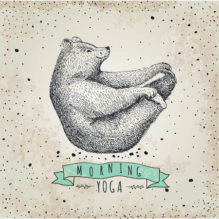 llustration of bear isolated on vintage background Vectores