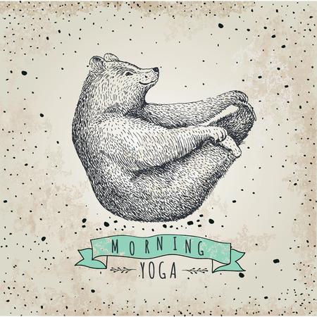 oso: llustration del oso aislado en el fondo de la vendimia