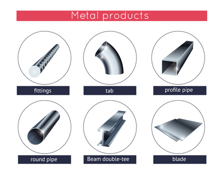 Rolled metal products set Illustration